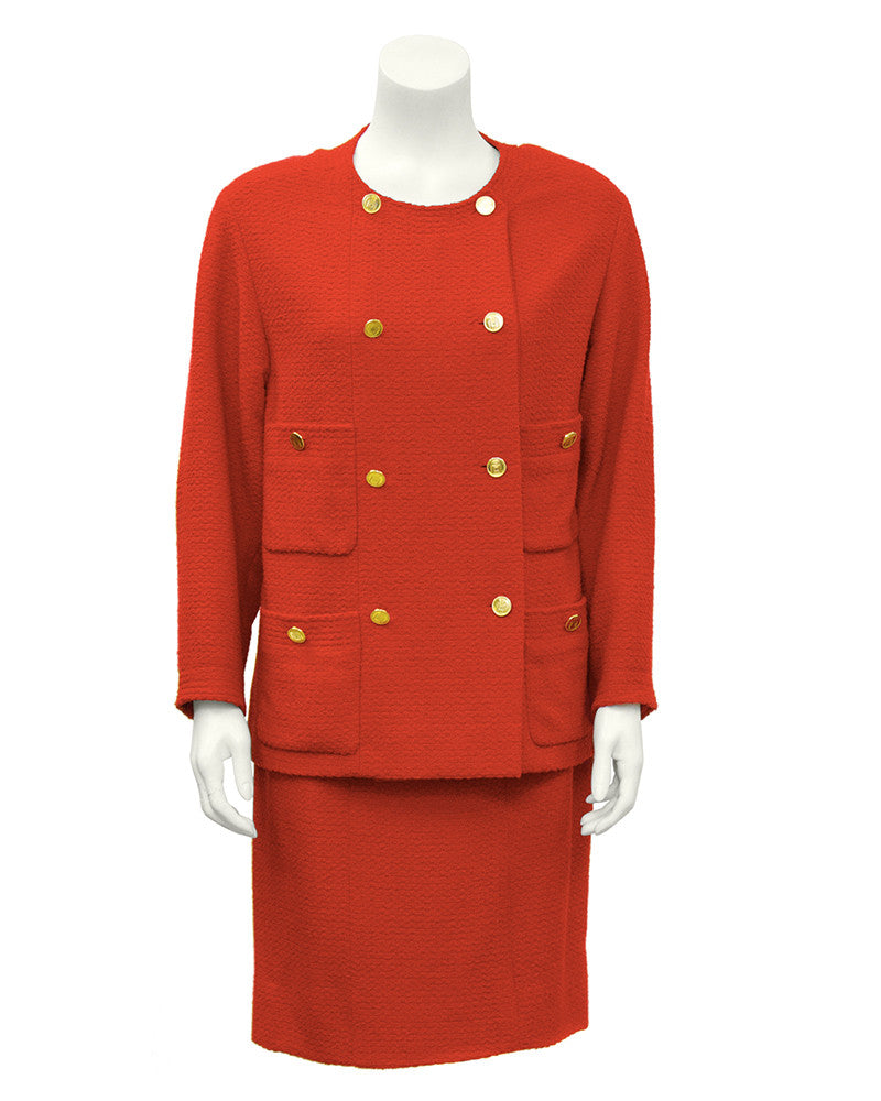 Red Double-Breasted Boucle Skirt Suit