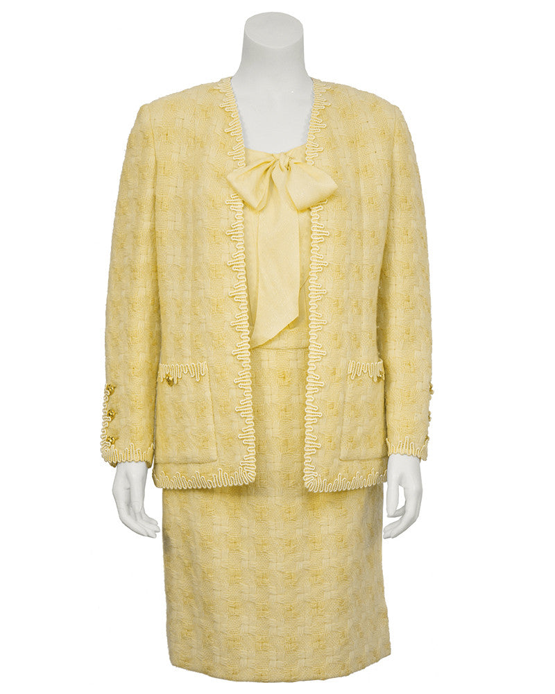 Yellow Boucle Jacket with Rickrack Trim