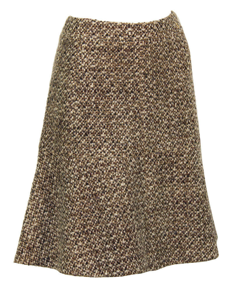 Brown & White Boucle Skirt Suit