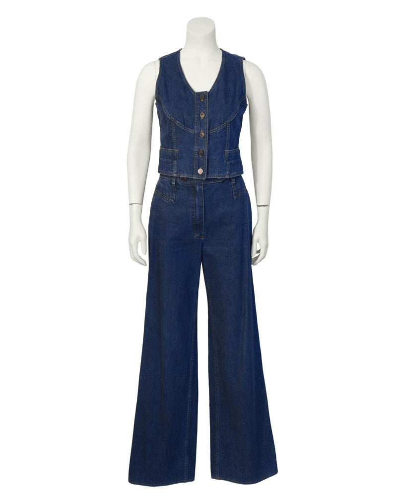 Denim Vest and Pant Set