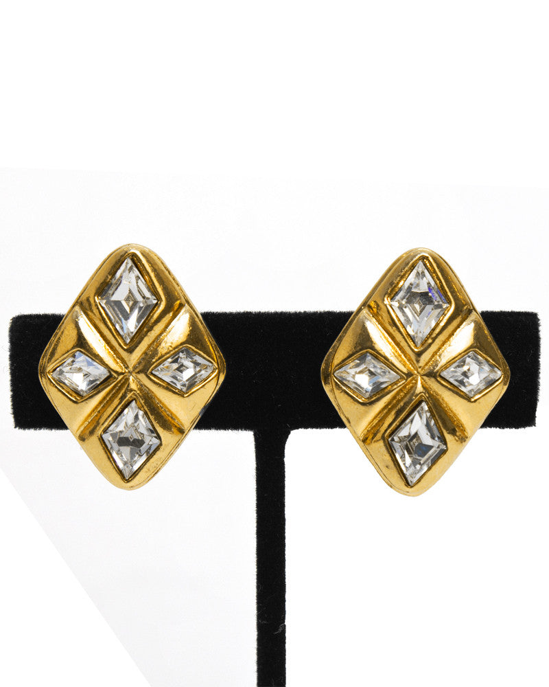 Gold Diamond Shaped Rhinestone Earrings