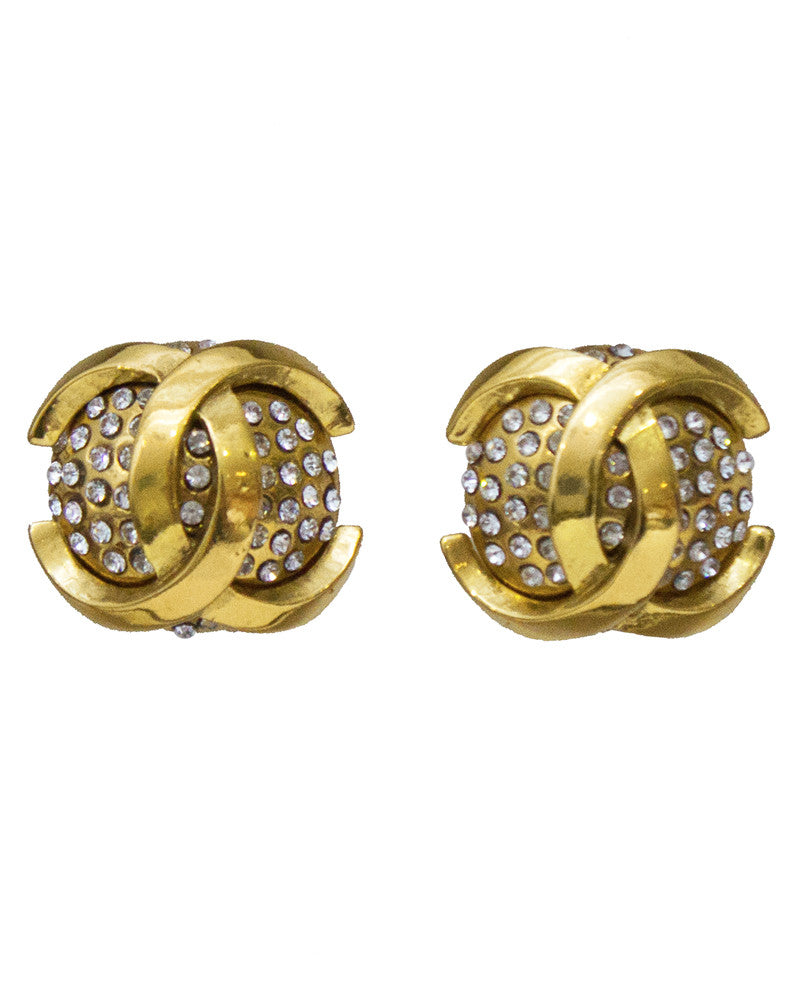 Dome Rhinestone Clip Earrings