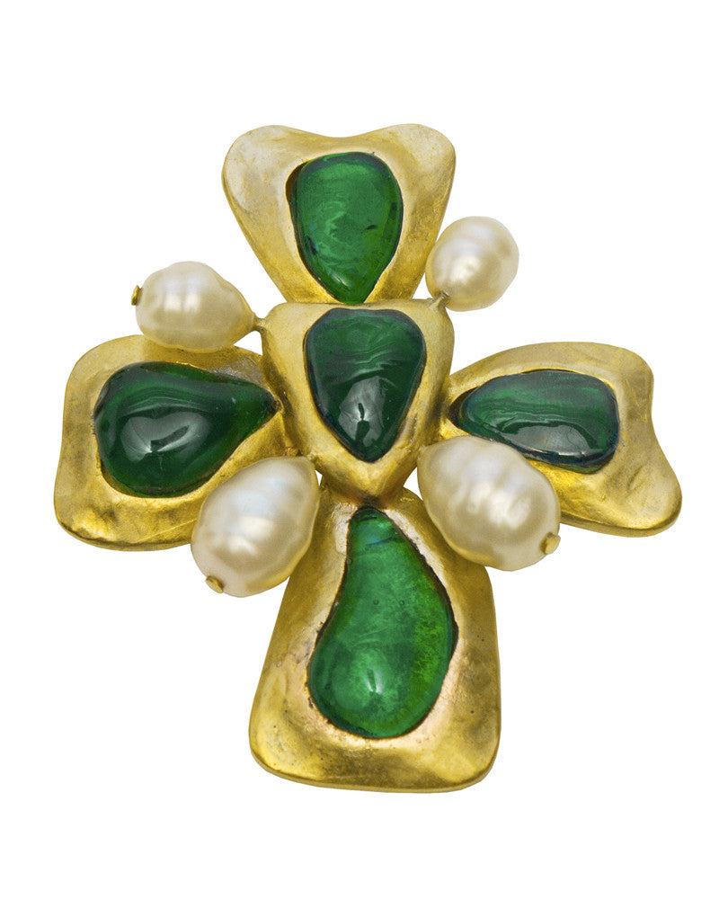 Large Green Glass and Pearl Clover Pin