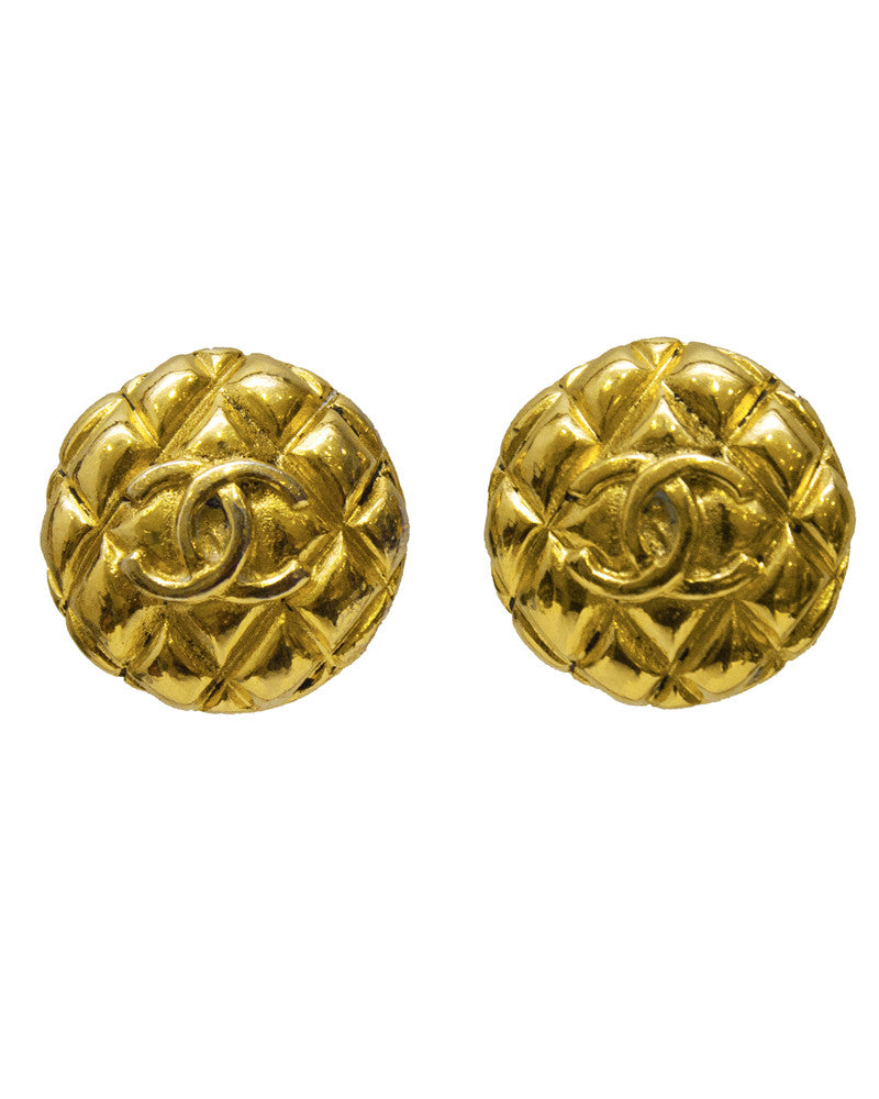 Collection 25 Gold Quilted Clip Earrings