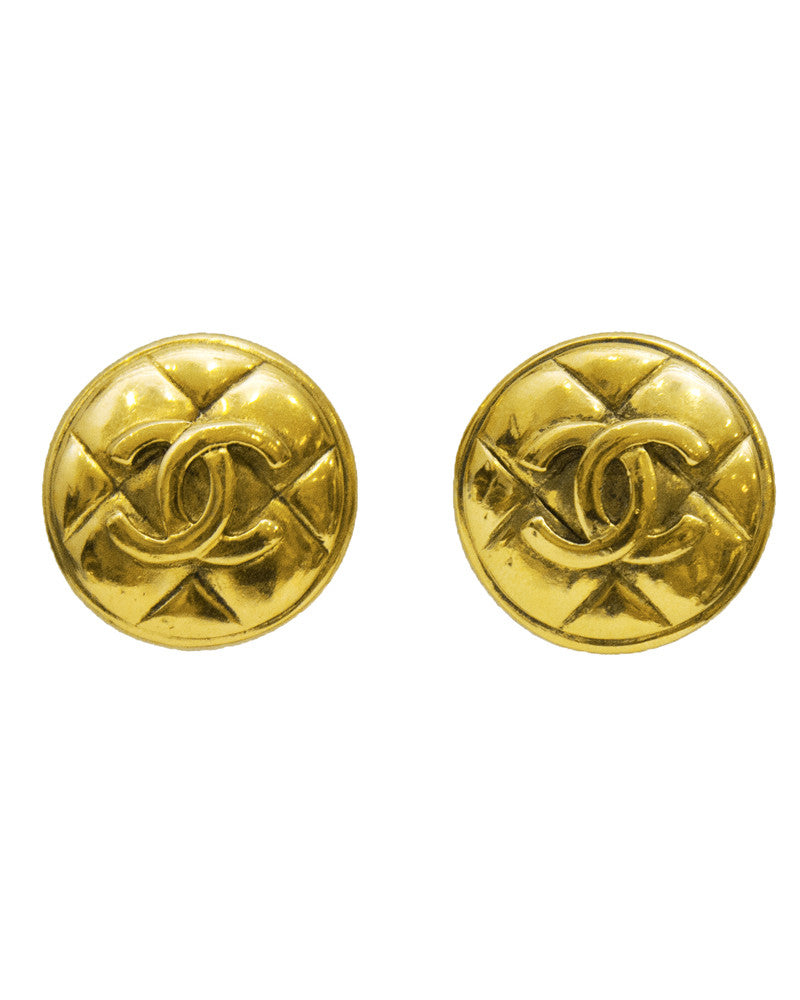 Quilted Gold Clip Earrings