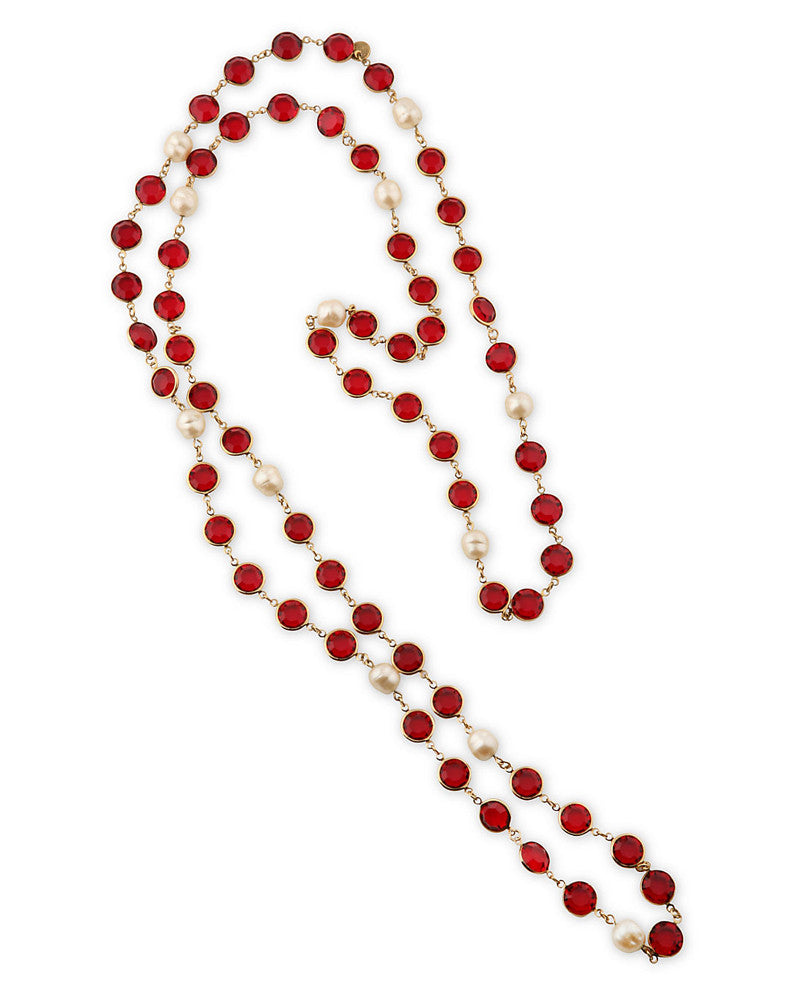 Red Cut Crystal and Pearl Sautoir