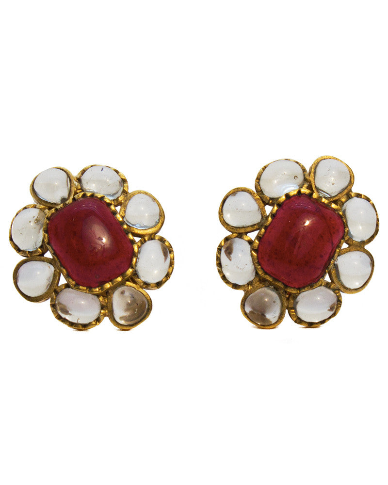 Burgundy Poured Glass Earrings