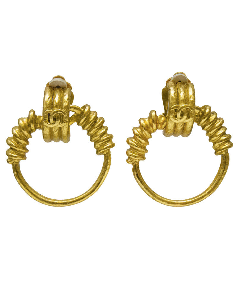 Gold Wrapped Hoop Earrings