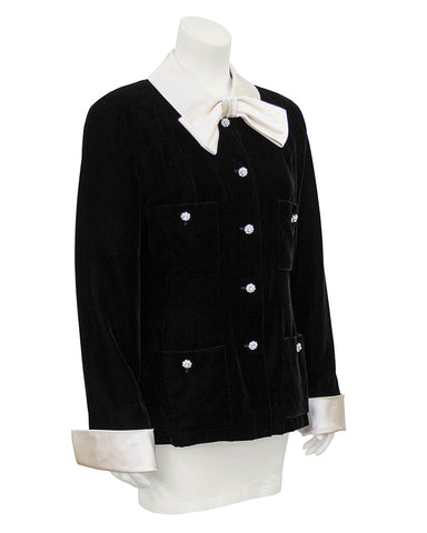 Black Velvet Jacket with Cream Satin Collar