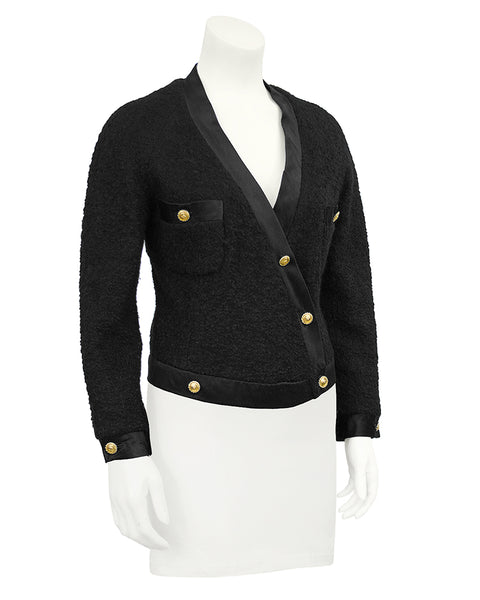 Black Boucle and Satin Trim Jacket