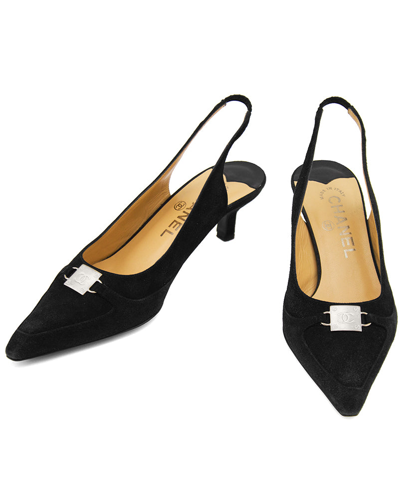 Black Suede Pointed Toe Sling Back Kitten Heels
