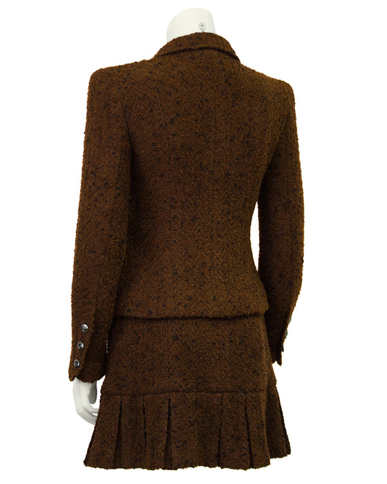 Brown Boucle Skirt Suit