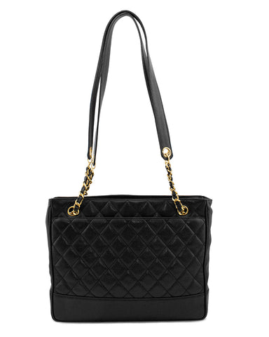 Black Caviar Leather Shoulder Bag