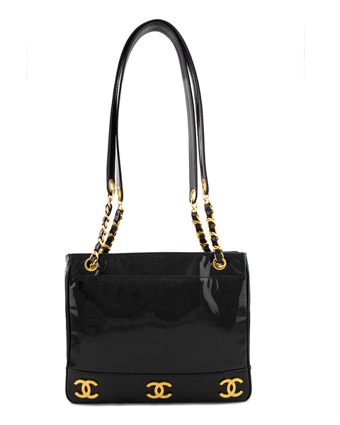 Black Patent Leather Double Shoulder Strap Bag