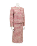Pink and Cream Boucle Skirt Suit
