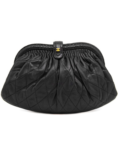 Black Quilted Frame Evening Bag