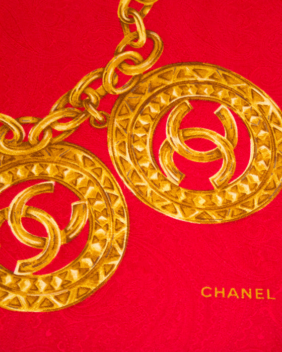 Red Silk Scarf with Gold CC Chain Print