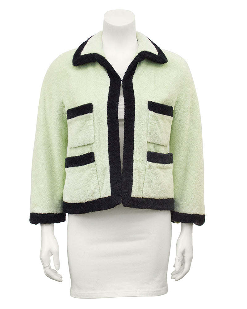 Mint Terry Cloth Cropped Jacket