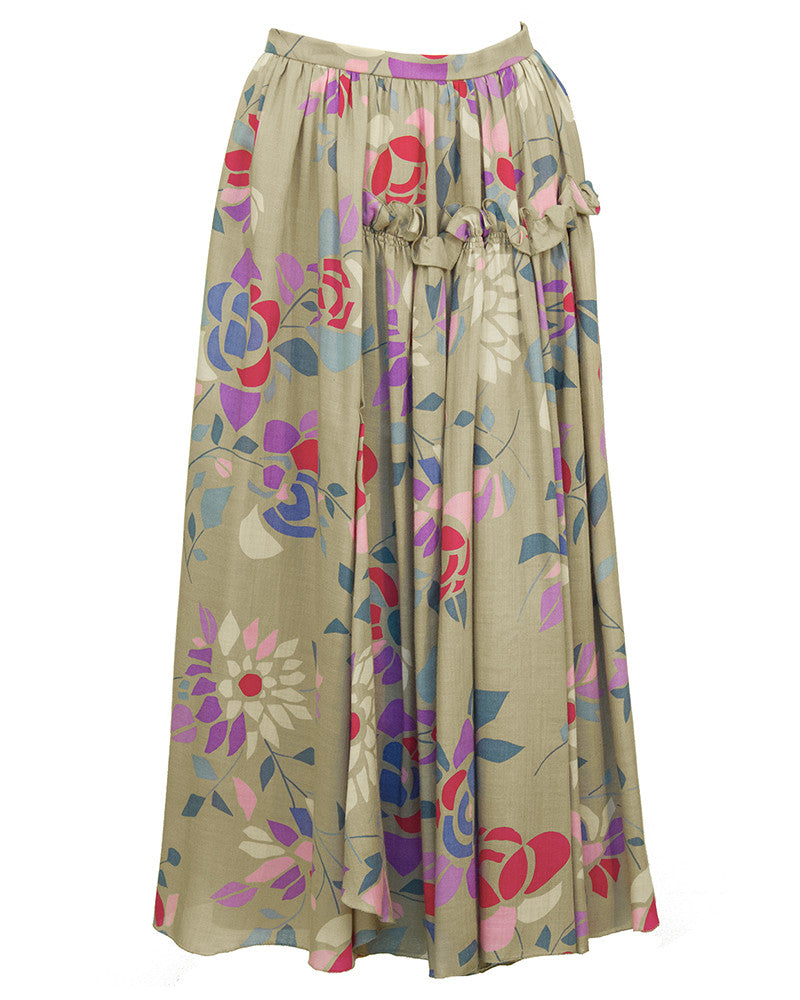 Taupe and Floral Silk Skirt Ensemble