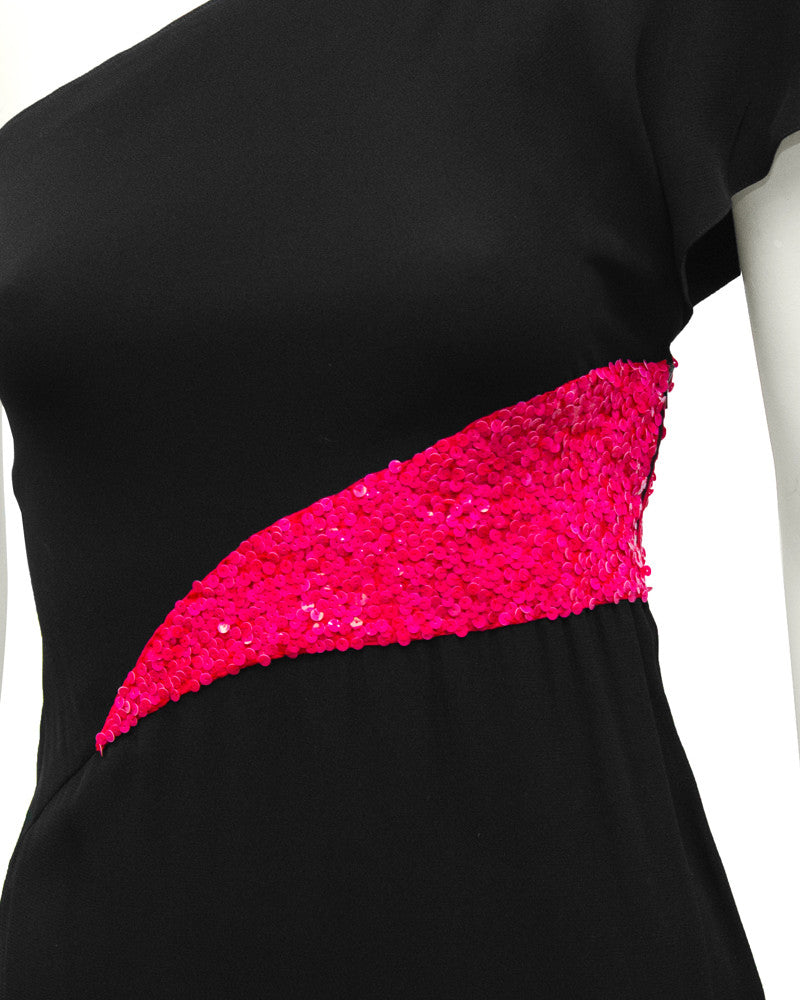 Black One Shoulder Gown With Pink Sequin Inserts