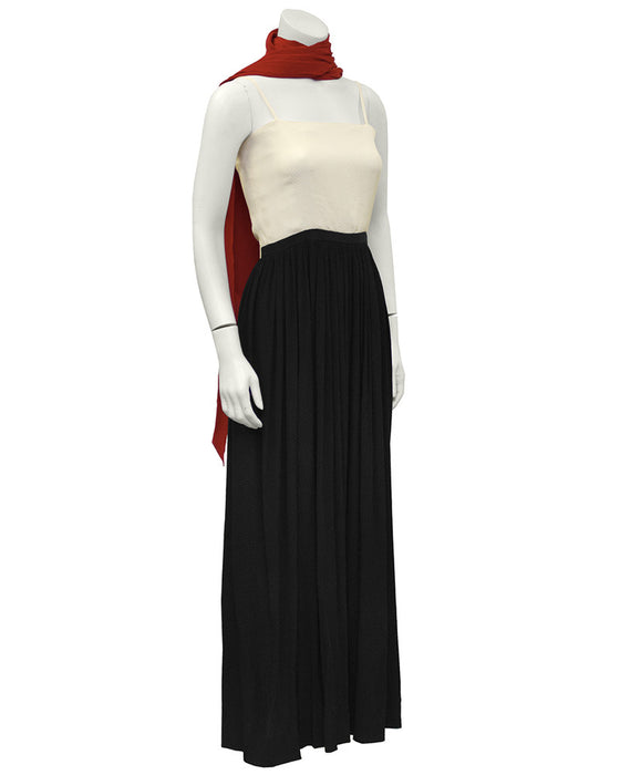 Color Block Silk Jacquard Gown with Scarf