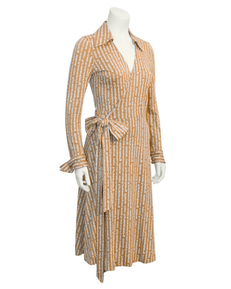 Tan Logo Wrap Dress