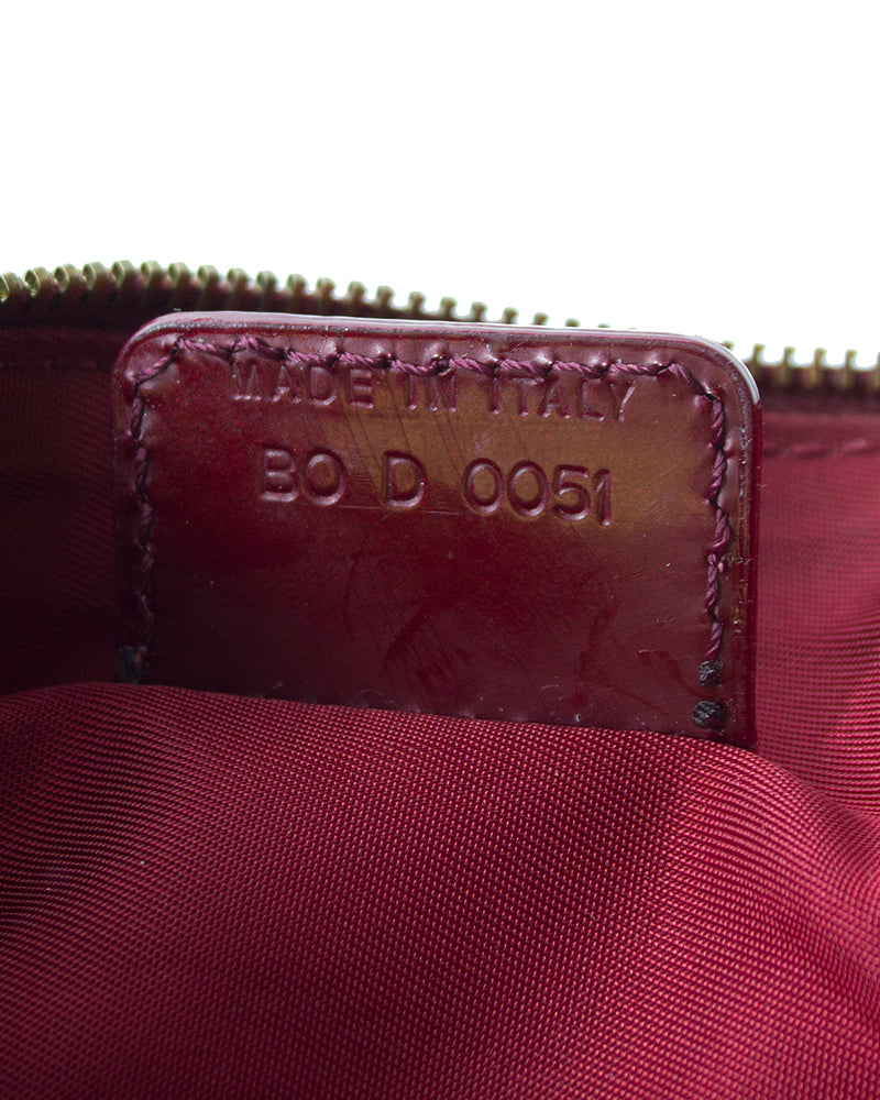 Burgundy Coated canvas mini logo saddle bag