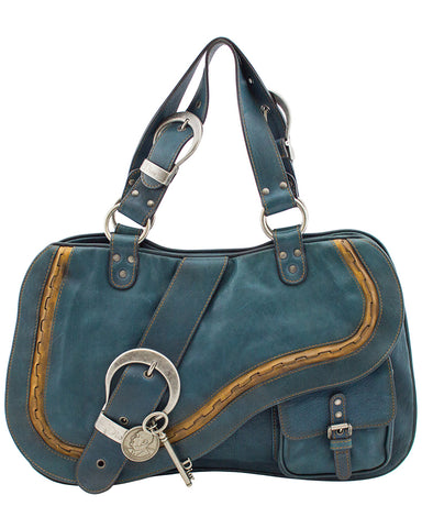 Double Gaucho Teal Blue Leather Saddle bag
