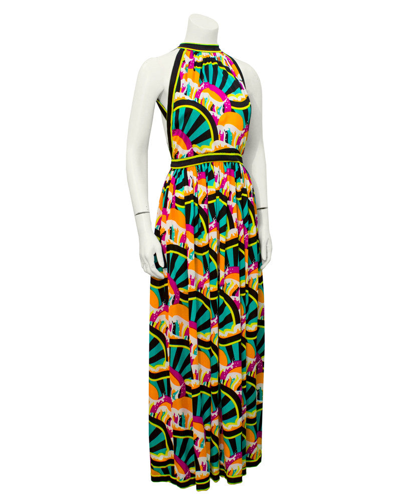 Multi colour graphic summer gown