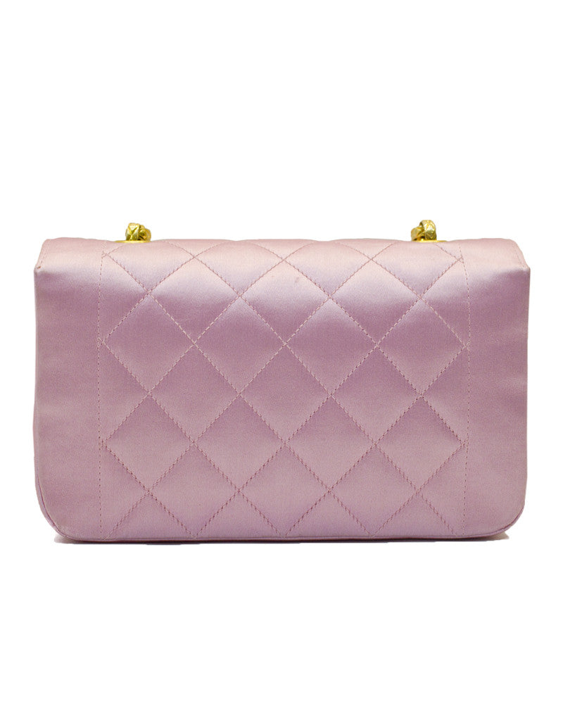 Pink Satin Quilted Evening Bag