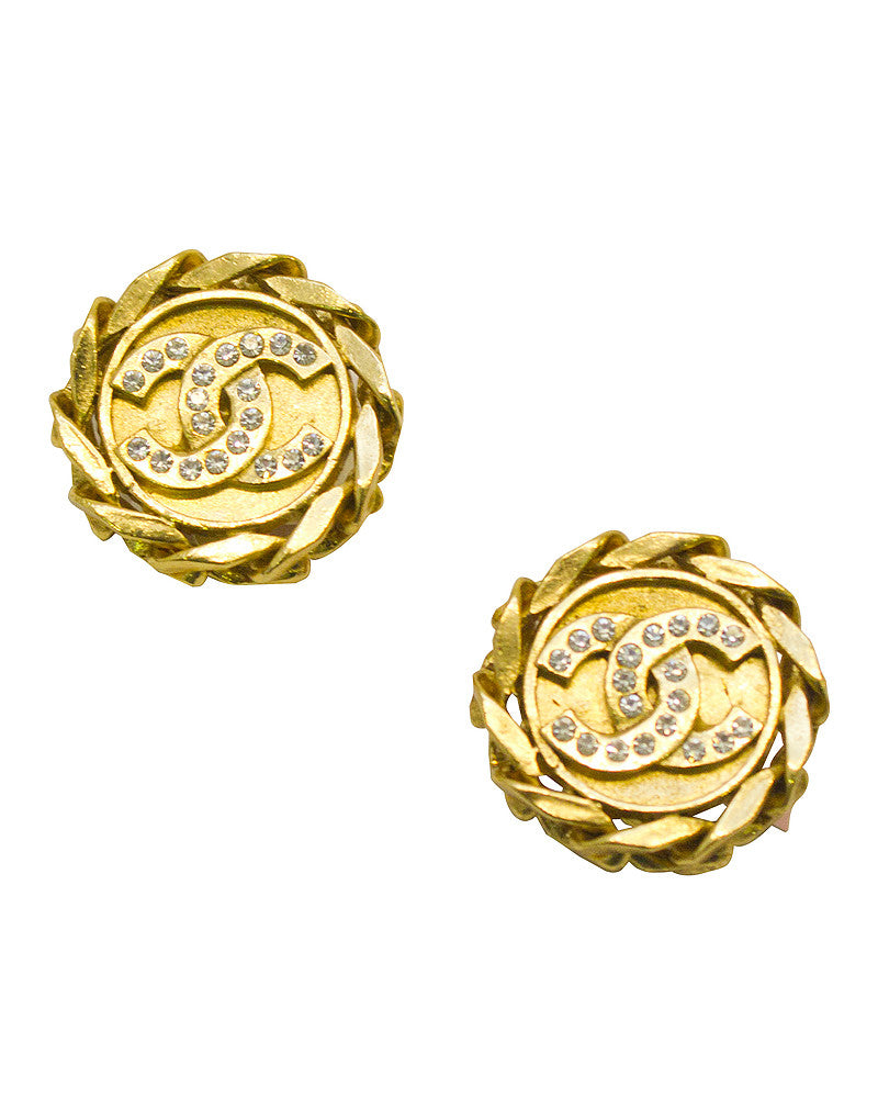 Gold-tone & rhinestone cc earrings