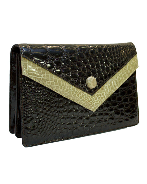 Brown and Beige Croc Clutch