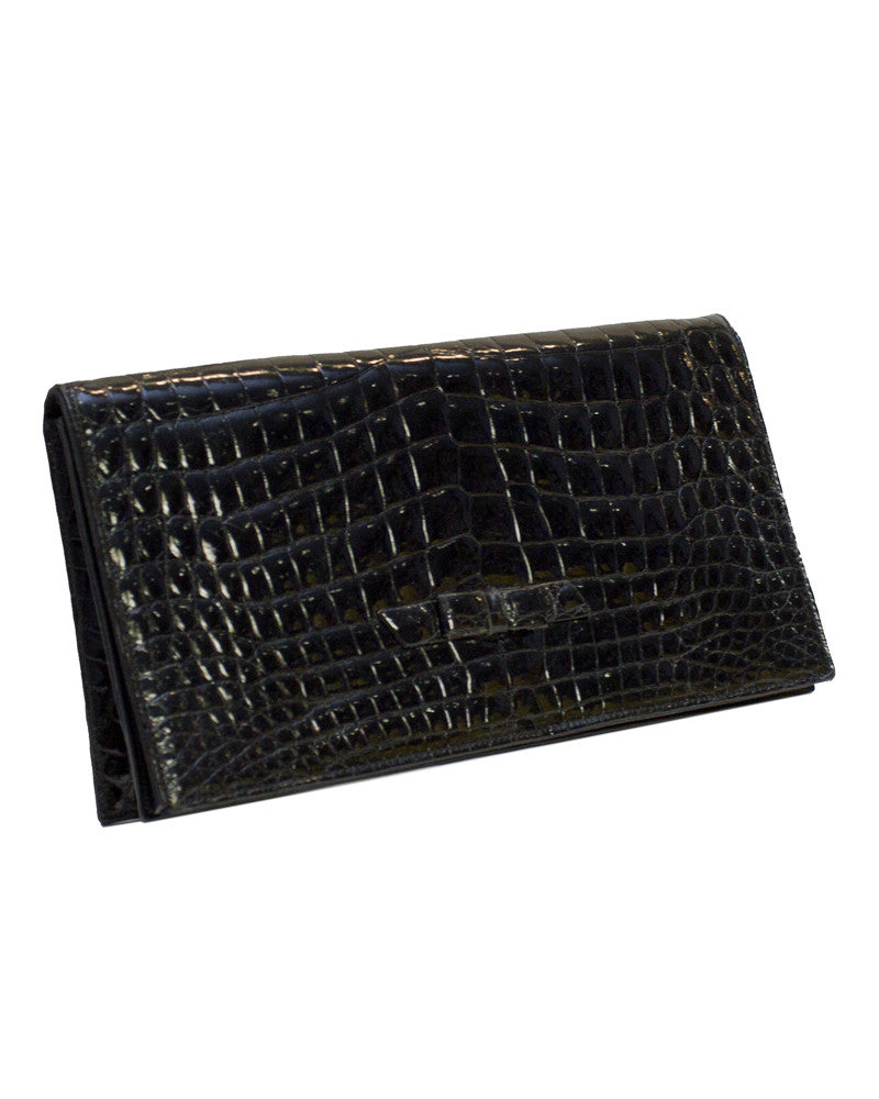Black Croc Evening Clutch