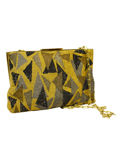 Gold Cut Steel Evening Bag