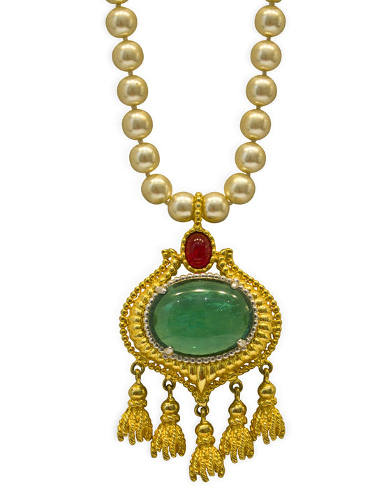 Faux Pearl and Cabochon Emerald Necklace