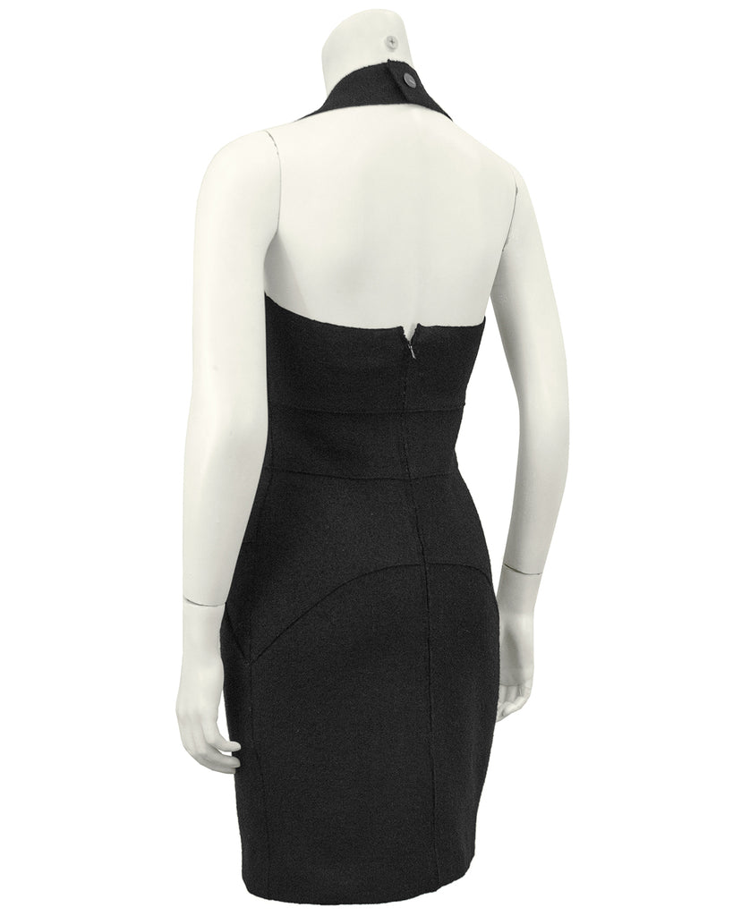 Black Wool Halter Dress