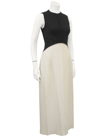 Black and Cream Felted Wool Maxi Dress