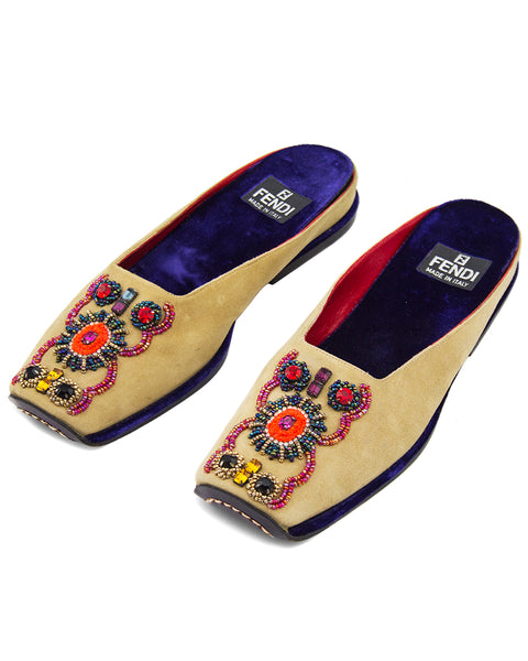 Beaded Suede Slipper Slides