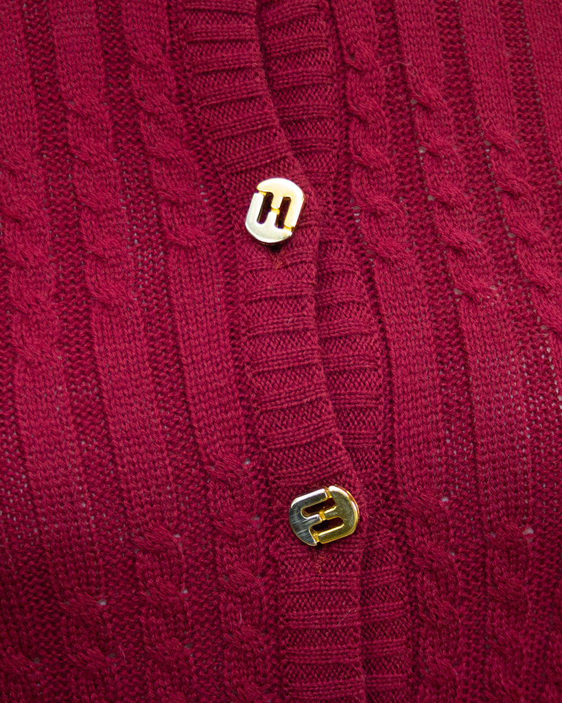 Burgundy Knit Cardigan