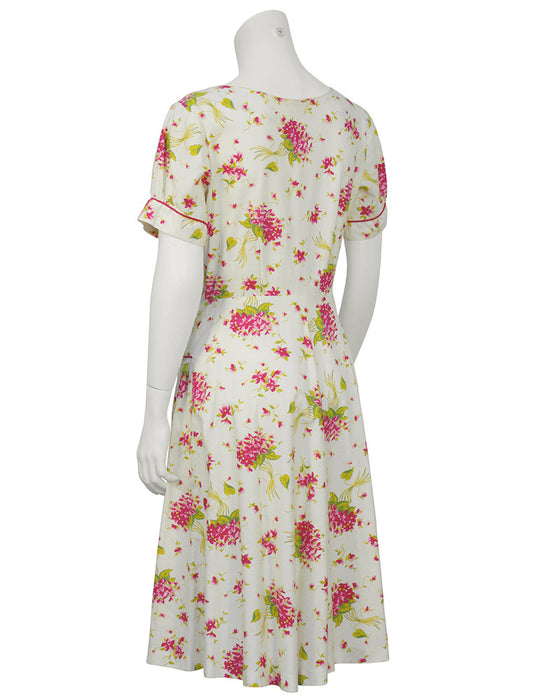 Floral Cotton Daydress with Red Piping