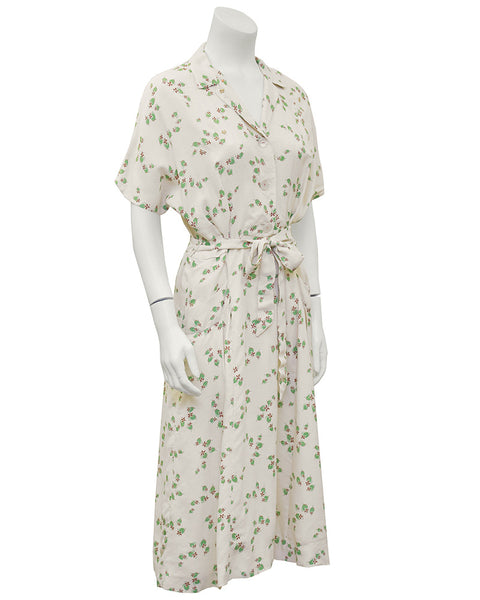 Beige and Floral Shirtwaist Dress with Belt