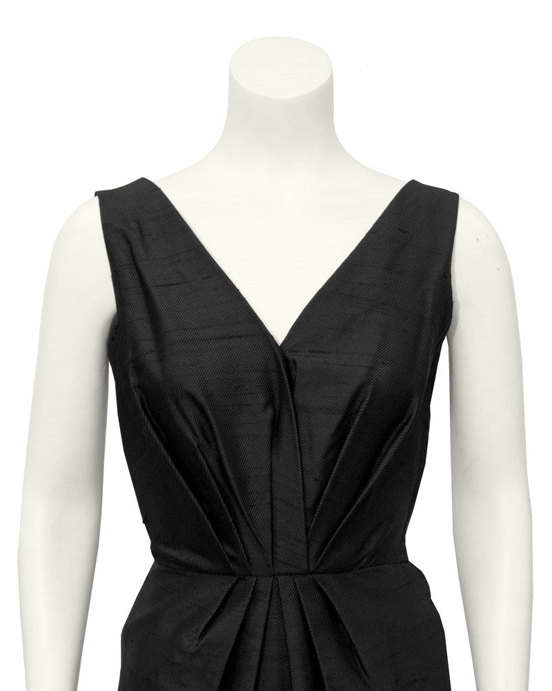 Black Raw silk dinner dress