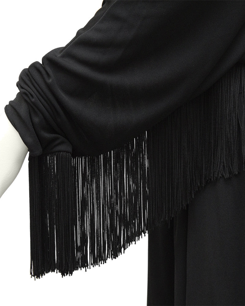 Black Jersey Gown with Fringe Detail