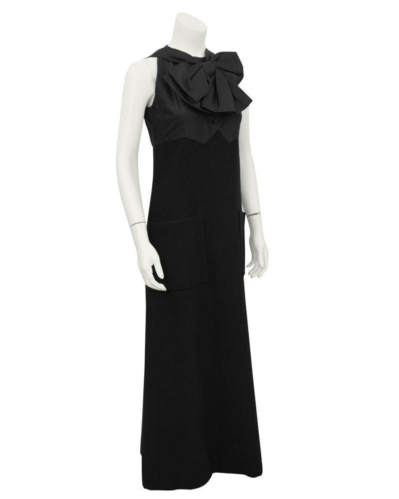 Black Wool Gown with Large Bow