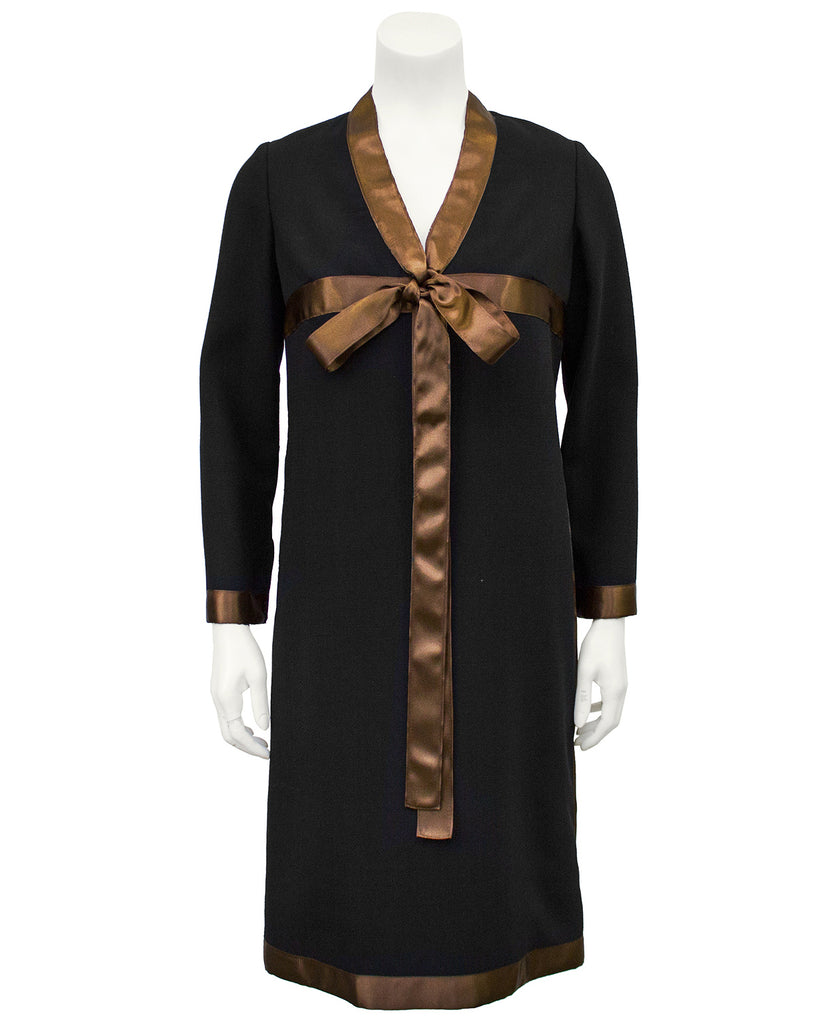 Black Dress with Brown Satin Ribbon Detail