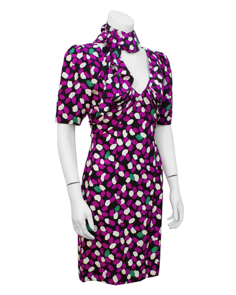 Flower Petal Print Dress with Neck Tie