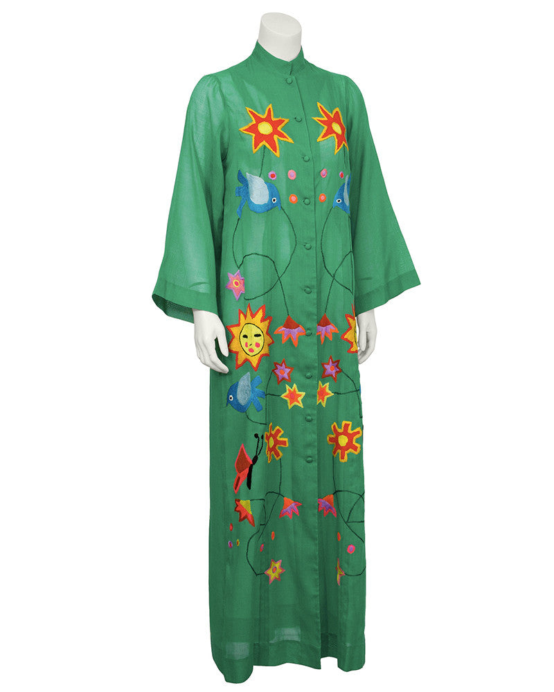 1960's Green Mexican Cotton Dress with Embroidery