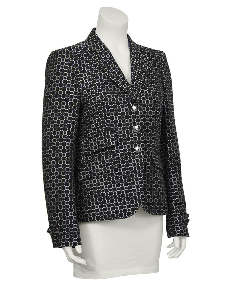 Runway Black and White Geometric Blazer