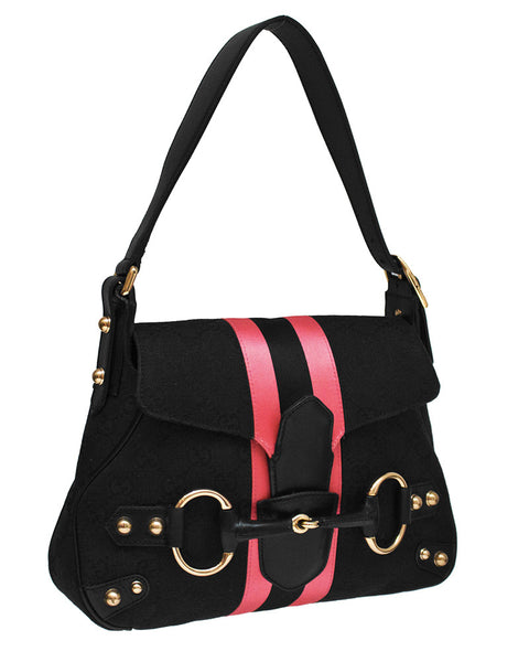 b57bca40c94 Black   Pink Small Saddle Bag