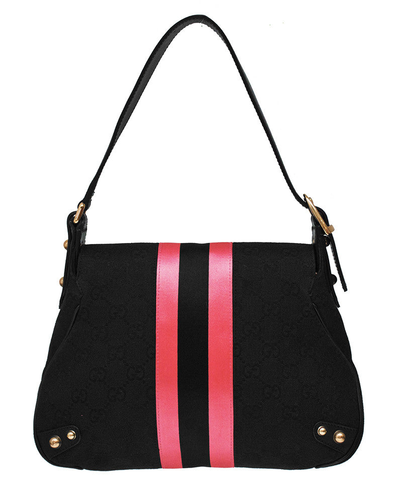 Black & Pink Small Saddle Bag